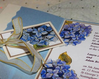 Hand painted personalised, Hydrangea wedding invitation Thank you card save the date