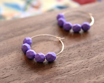 gold filled bright purple czech glass hoop earrings