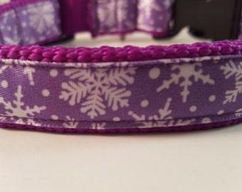 Deep Purple Med Adjustable Collar w White Snowflakes on Lavendar Satin, Medium Purple Collar, Doggy Collar, Doggie Colalr, Gifts for Dogs