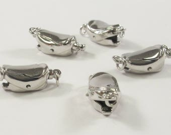 12 x 8 mm .925 Sterling Silver Clasp With Heart Shape Accent, Sterling Silver Finding Clasp, Heart Sterling Silver Clasps (433-SCL1208)