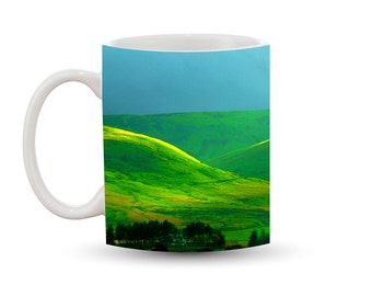 Green Hills Mug 11 oz Ceramic Photo Coffee Cup, Wales Landscape Yellow Grass Rolling Mountains Great Britain Europe UK Vacation Scenic