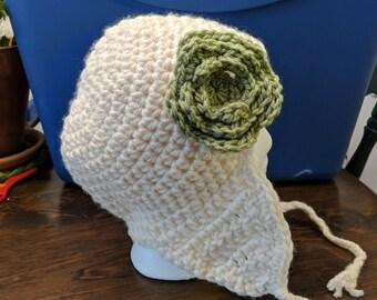 Ear Flap Winter Hat with Green Flower
