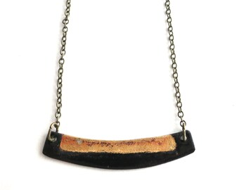 Black and Gold Enamel Necklace