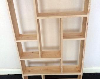 Large 9 Compartment Wall Shelf, Handmade Pigeon Hole Shelf, Wall Shelf
