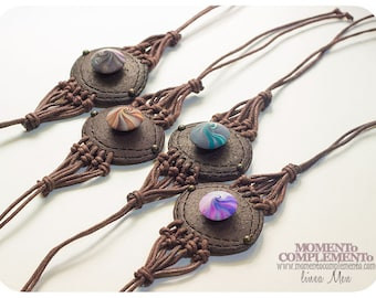 bracelets ammonite knotted handmade polymer clay, swirl bead & leather imitation. Unisex style, bangles bohemian air.