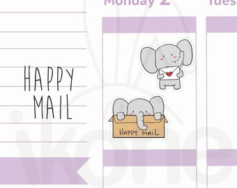 Peanut the Elephant - 21 Happy mail Planner Stickers, Cute elephant Planner Stickers