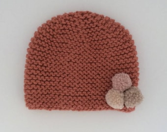 Rose knitted beanie with champignon, coquillage and canvas pompon