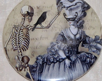 The Masquerade Ball pocket mirror, a Marie Antoinette inspired WickedlyLovely Art pocket mirror