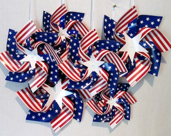 Nautical Hanging Pinwheels Patriotic Fourth of July Pinwheel Decoration 4th of July Flag Stars and Stripes Red White and Blue Pinwheels