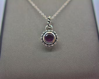 Sterling Silver Genuine Amethyst Pendant Necklace