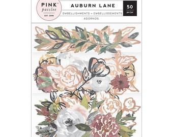 Pink Paislee - Auburn Lane Collection - Mixed Floral Embellishments with Foil Accents - Ephemera for Bible Journaling!