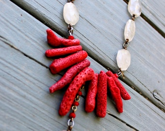 CLEARANCE-Red Coral & Quartz Necklace