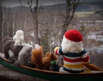 Needle Felted Christmas Hudson Bay Santa in Canoe- Needlefelted Wool Animal Soft Sculpture by McBride House