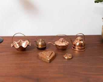 Vintage Dollhouse Miniatures - Pot, Kettles, Basket Decorative Copper Metallic Decor Accents
