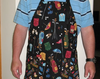 Handmade Men's Style Golf on Black Apron One Size Fits Most