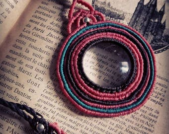 Loupe Necklace, Magnifying Glass Necklace, Micro-macrame Loupe Pendant, Magnifiyng glass pendant, macrame jewelry, Macrame Circle Necklace