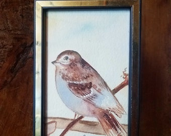 Vintage Bird Watercolor Painting, Original Painting, Wildlife Painting, Bird Painting