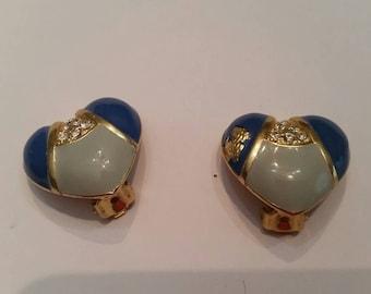 Vintage Blue Heart Enamel Earrings