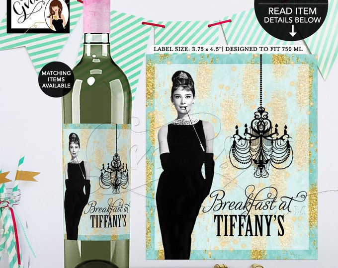 "Audrey Hepburn Wine Labels, Decorations, Printable, Turquoise blue and gold, Breakfast at, bachelorette, bridal.  {3.75x4.5""/4 Per Sheet}"