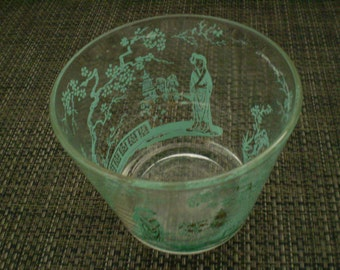 Vintage BOWL Robins Egg Blue And Gold Asian Glass bowl