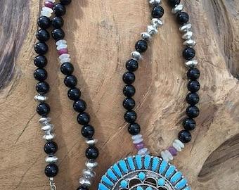 Kingman Turquoise Necklace | Zuni Pendant | Black Onyx | Genuine Ruby | Moonstone | Thai Silver | Bohemian | Gemstone | Tribal
