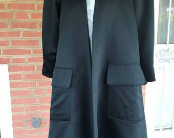1980's Vintage Victor Costa for Imagnim Lined Black Dacron  Polyester  Evening - Opera- HolidayCoat, Mid knee or above
