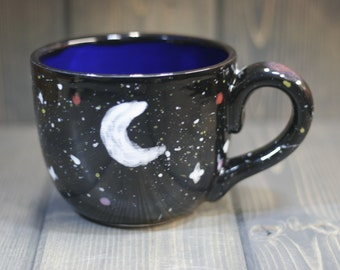 28 oz Super mug, Black / Blue, Black outside, Blue inside, with Moon, Stars, Nebula. Large and bright.