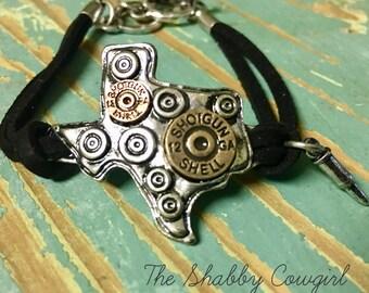 Texas and faux bullet casings bracelet