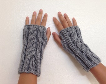 Fingerless Gloves in Many Colors, Wrist Warmers, Cable Knit Fingerless Mittens, Knit Armwarmers, Women Gloves, Gift for Her, Teen Girls Gift
