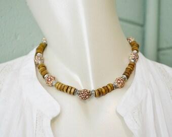Necklace/Choker Wood Beads & Flowers, Wood Bead Choker, Beachy Wood Bead Choker, Flower Choker