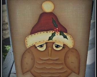 Christmas Owl Wood Shelf Sitter Block Holiday Home Decor