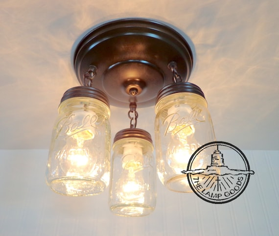 Mason Jar LIGHT FIXTURE New PINT Trio Flush Mount Farmhouse