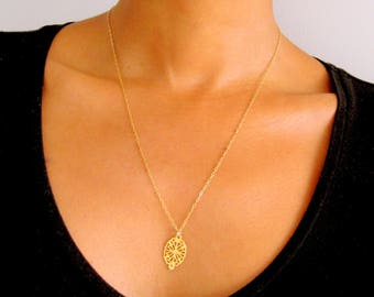 14k Gold Fill Medallion Necklace, gold coin necklace, gold medal pendant necklace, dainty layering necklace, simple flat gold pendant