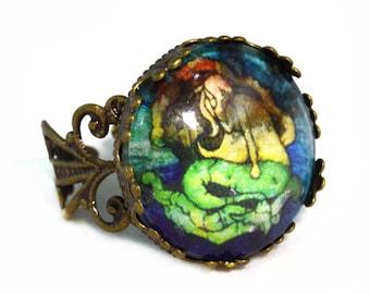 Dark Mermaid Jewelry Ring - Adjustable - Mermaid Jewelry - Free US Shipping