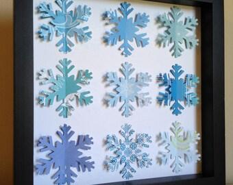 Blue Snowflake, 3D paper art