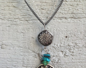 Unique One Of A Kind Handmade Navajo Southwestern Necklace With 70s/80s Beading/Chain
