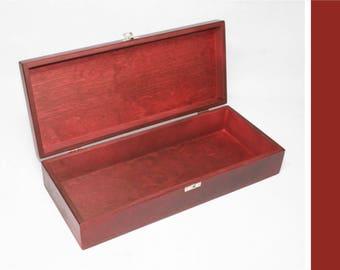 Red Wooden Box - 14.17 x 5.70 x 2.95 inch - Keepsake Box - Storage Box - Gift Set Box - Red Gift Box - Red Storage Box - Favor Box
