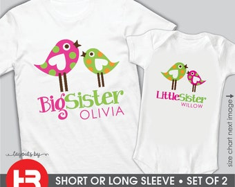 Big Sister Little Sister Outfits Matching Tweet Birds Big Sister & Birds Little Sister Shirts or Bodysuits • 2 Personalized Sibling Shirts