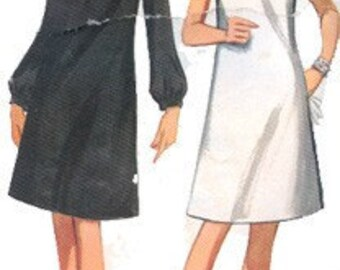 Vintage 1960s Draped Cowl Neckline A Line Dress w/ Seam Interest Day or Evening Cocktail Dress Sewing Pattern Butterick 4483 Size 16 Bust 36