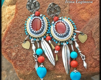 Seed Bead Embroidered Clip-on Earrings - Boho/Ethnic Earrings - Long Clip-on Earrings with Agates