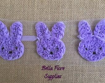 Purple Bunny Shabby -Easter Shabby-- 3 inch- Shabby Chiffon Flowers- Wholesale-