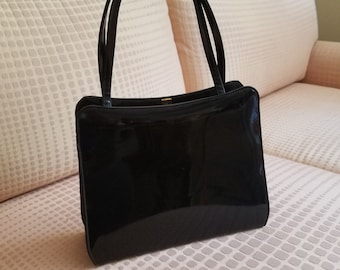 Socialites by Theodore California Patent Leather Handbag Vintage 1950s gold clasp shiny footed