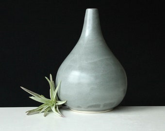 Teardrop Vase Grey - Porcelain Bud Vase Steel Grey