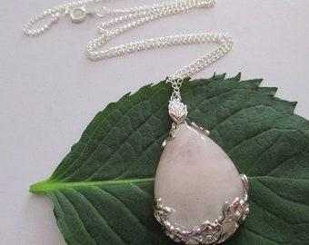 Natural Rose Quartz Teardrop Silver Pendant, Rose Quartz Floral Leaf Wrap Pendant