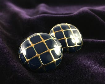 Vintage 80's Blue & Gold Enameled Round Grid Stud Statement Earrings
