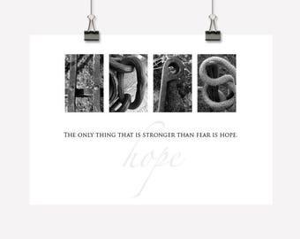 Hope Gift - Inspirational Wall Art/Decor - Downloadable Printable PDF - Photographic Typography