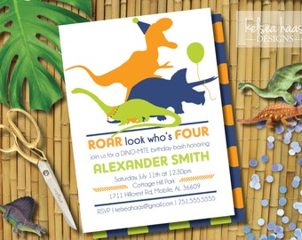 Dinosaur Birthday Invitation, Roar Look Who's Four, 4th Birthday Party, Personalized, Digital Printable, DIY, Dinosaur Party Invite, Dino