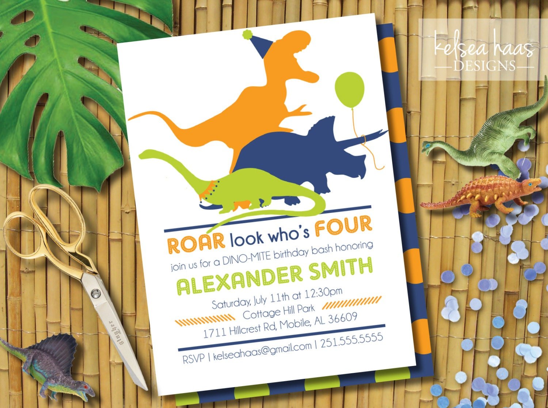 Dinosaur Birthday Invitation Roar Look Who\'s Four 4th