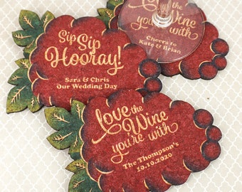 Wedding Favor Coasters, Personalized Wine Grapes Shaped Cork Coasters - Set of 12