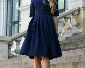 Formal Dress, Navy Dress, Midi Dress, Women Clothing, Office Dress, Short Sleeve Dress, Pleated Dress, Ball Dress, Spring Dress, Blue Dress